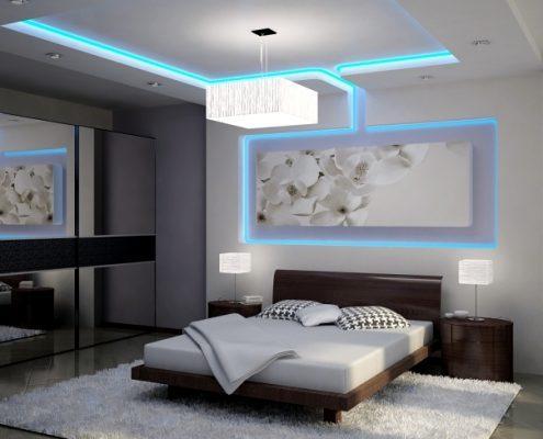 نور مخفی ابی اسمانی در اتاق خواب