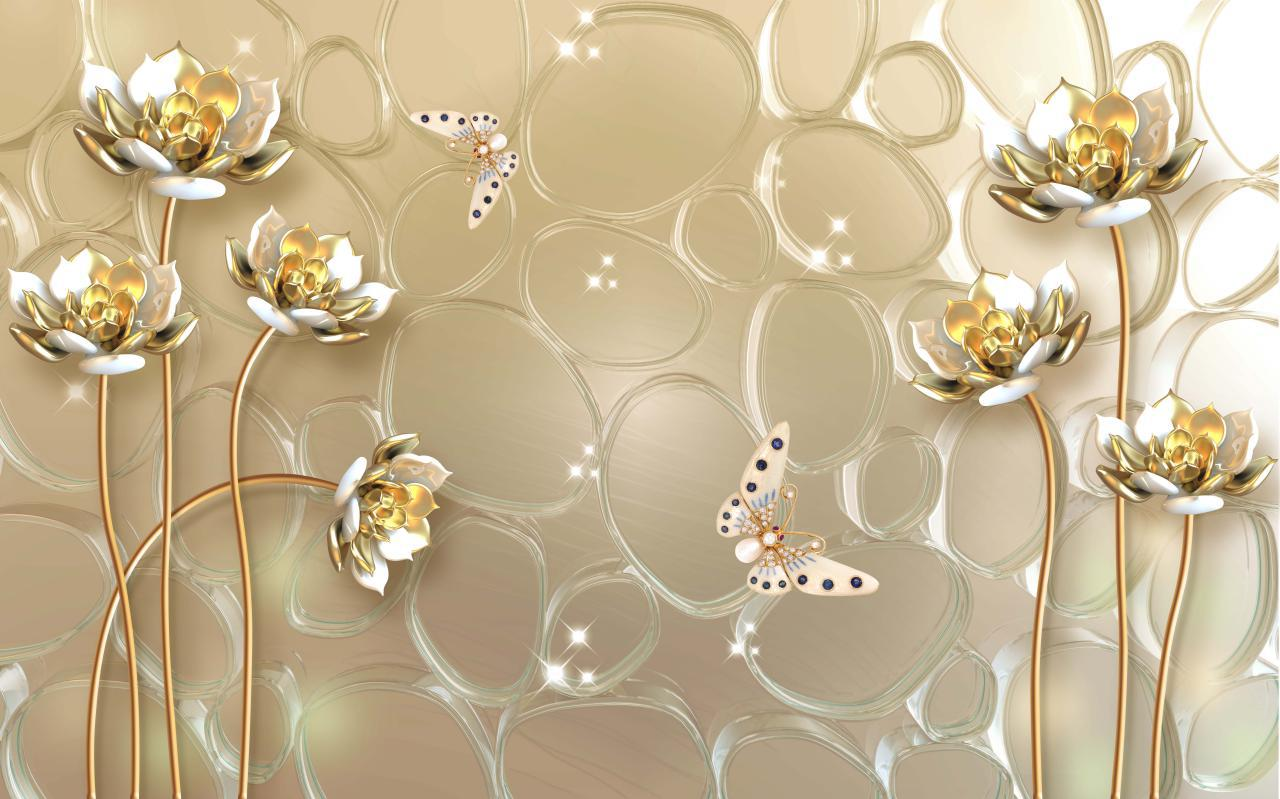 پوستر دیواری سه بعدی گل طلایی